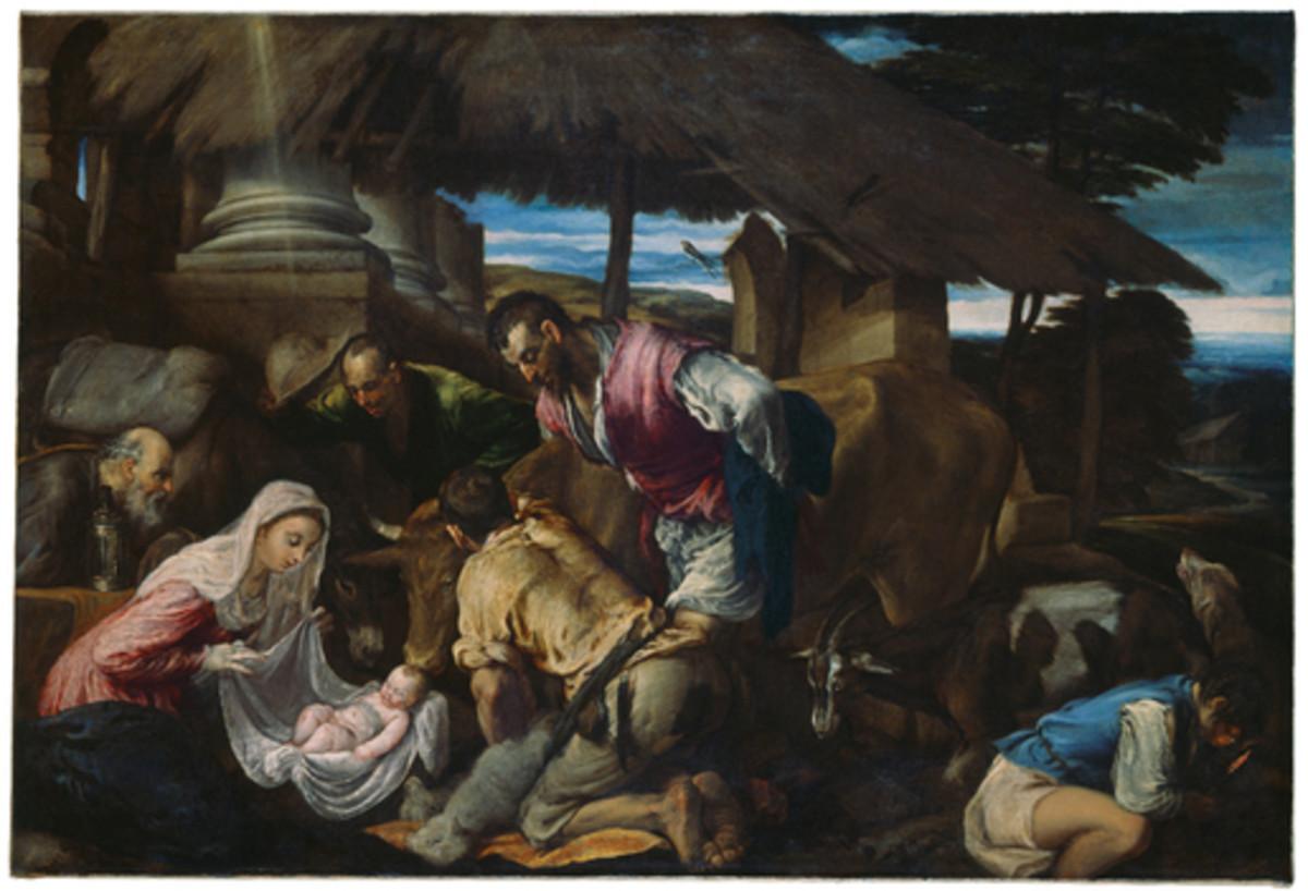 Jacopo Bassano, Adoration of the Shepherds (a. 1563), Winterthur Oskar Reinhart Collection