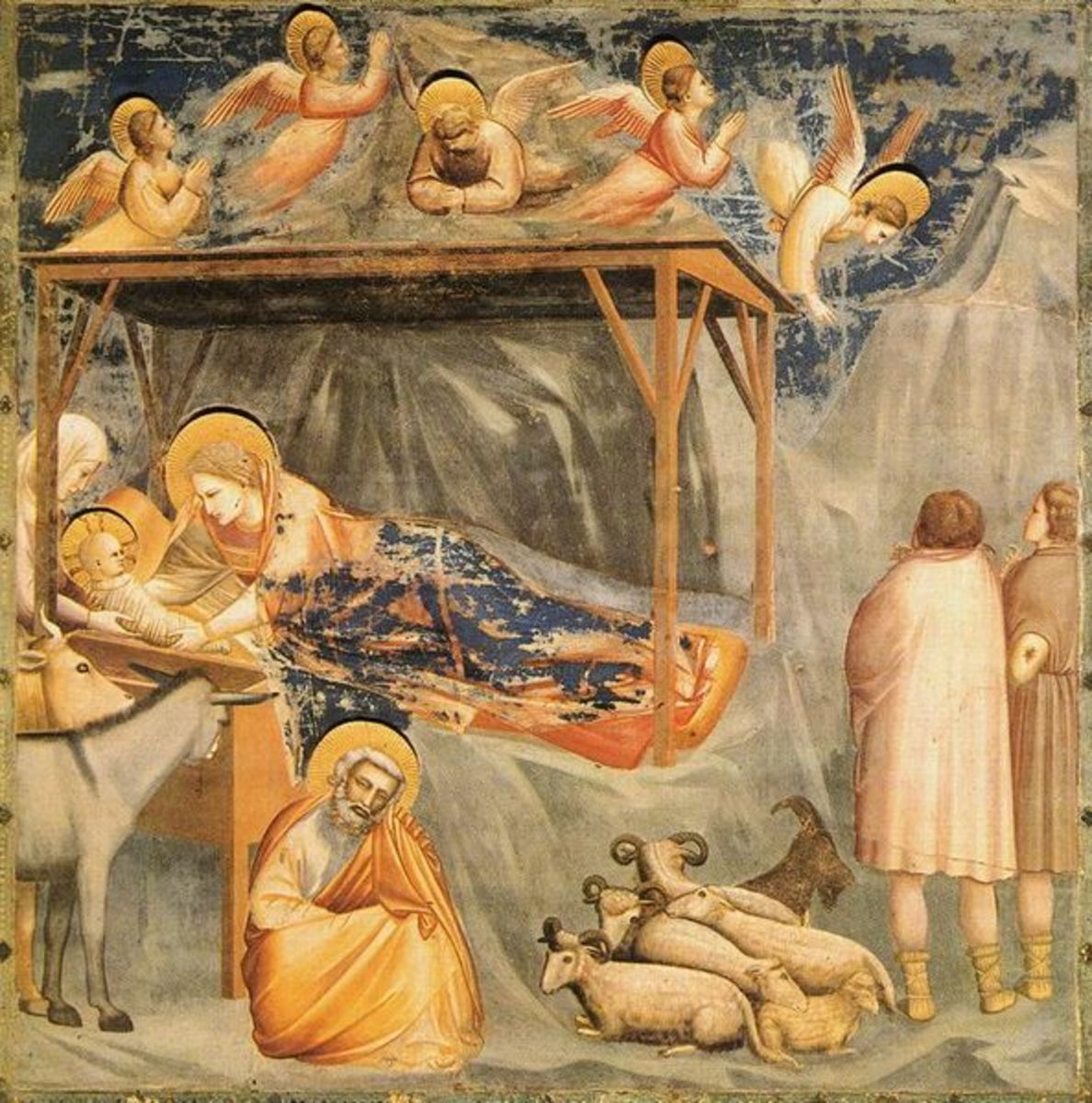 Giotto, Nativity and the Shepherds Announcement (1305), Padua Cappella degli Scrovegni