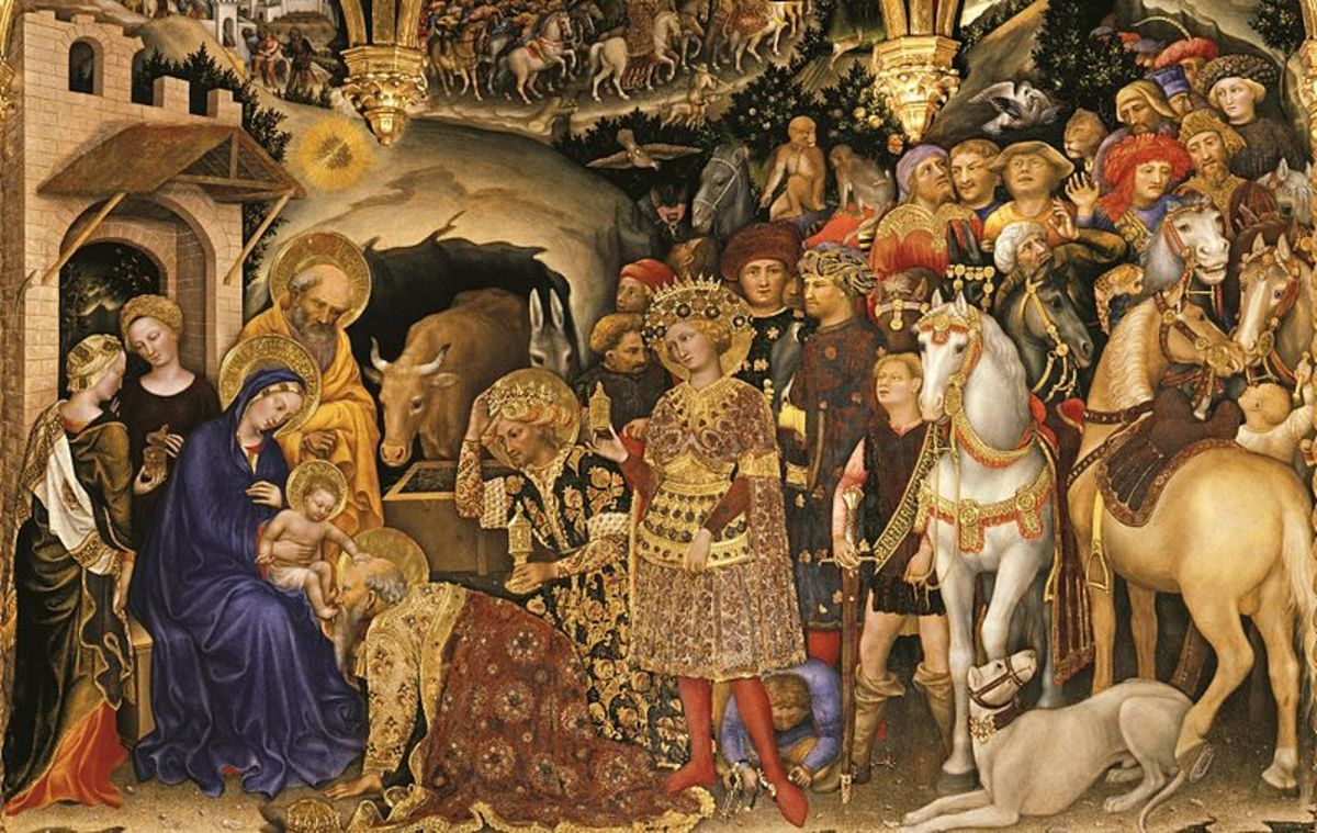 Gentile da Fabriano, Adoration of the Magi (1423), Florence Galleria degli Uffizi - Detail