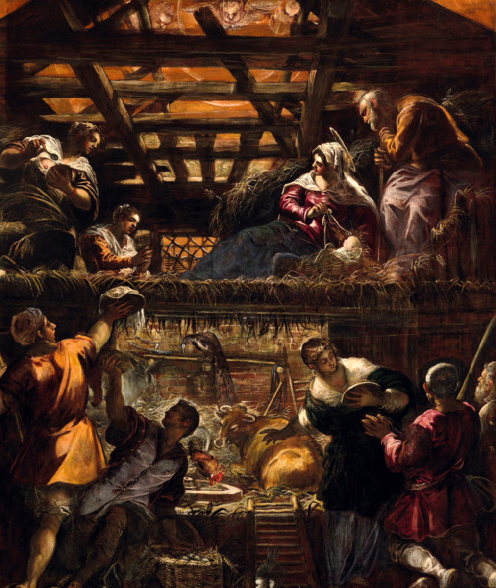 Jacopo Tintoretto, Adoration of the Shepherds (a. 1580), Venice Scuola Grande di San Rocco