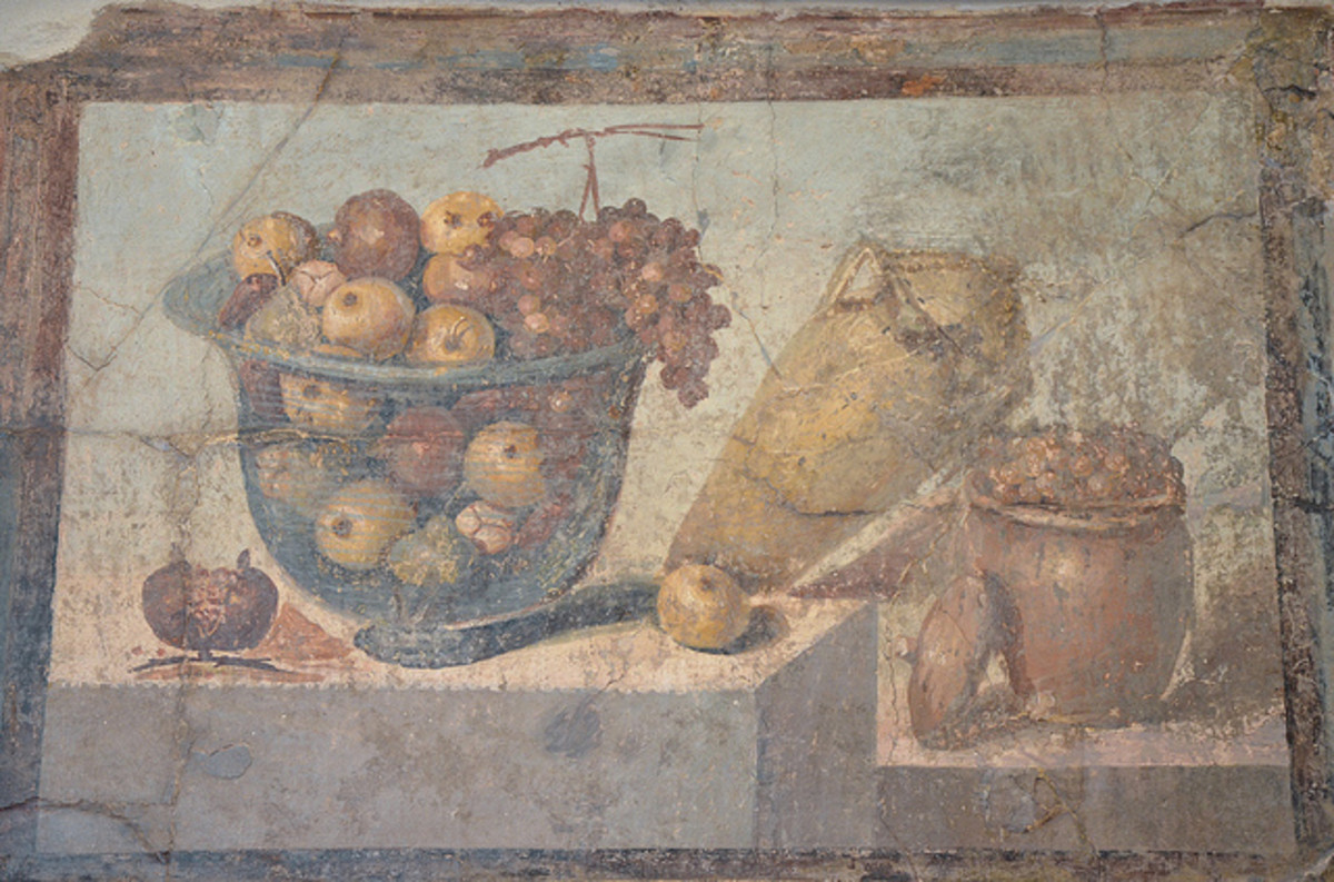 Roman fresco depicting two fruit bowls and a wine amphora