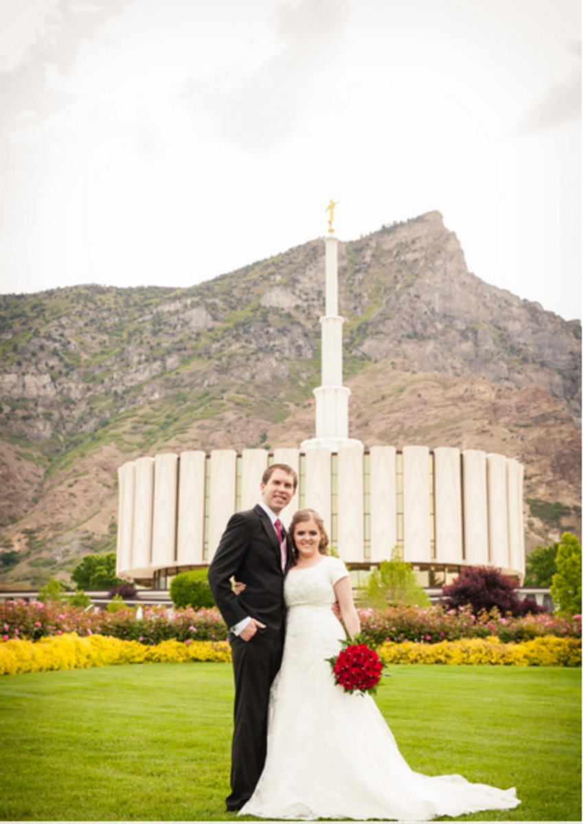 This is a photo of my husband and I on our wedding day in front of the Provo LDS temple.