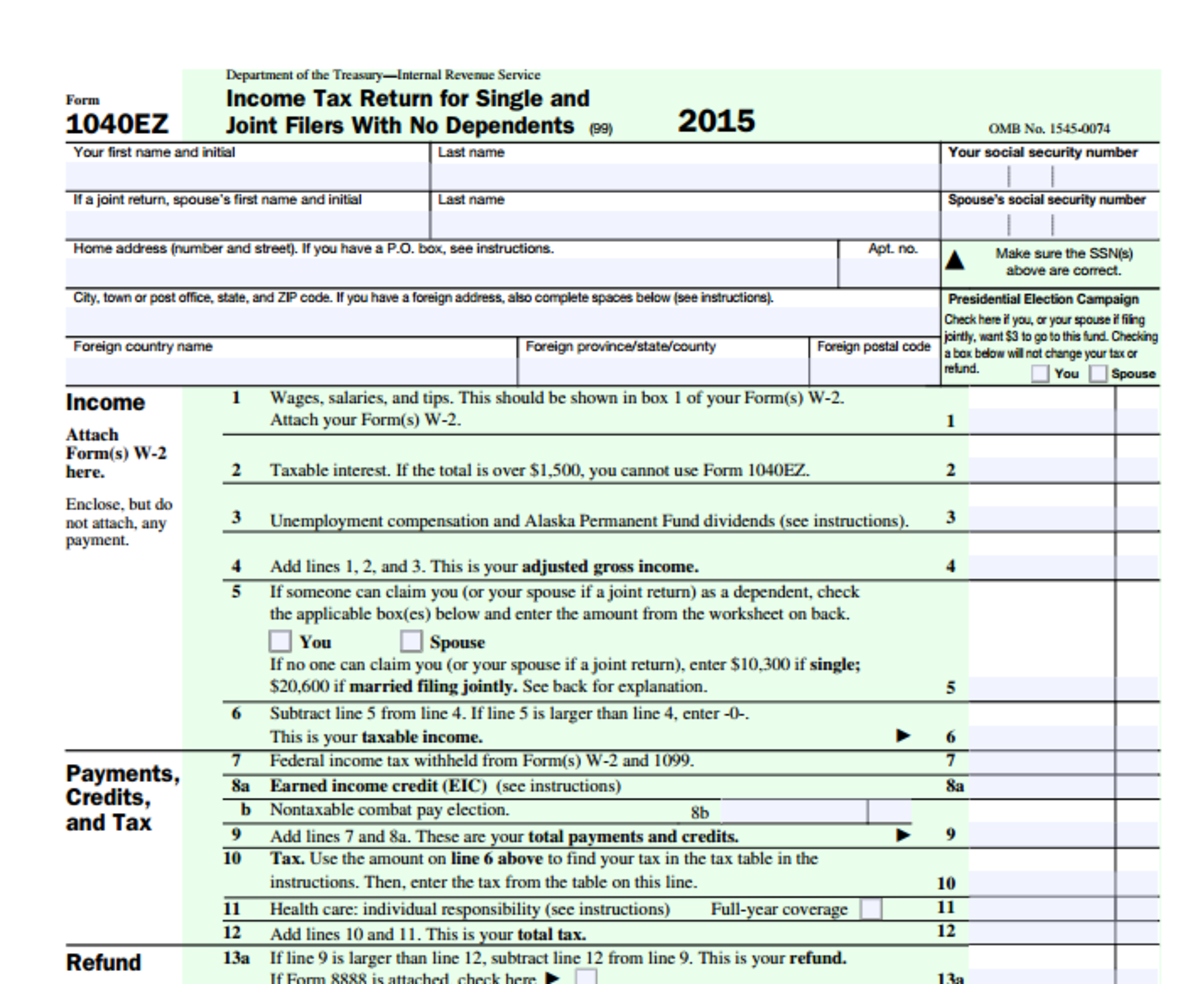 This is part of a 1040EZ, the form my husband and I will get to fill out sometime in the next 2 months.