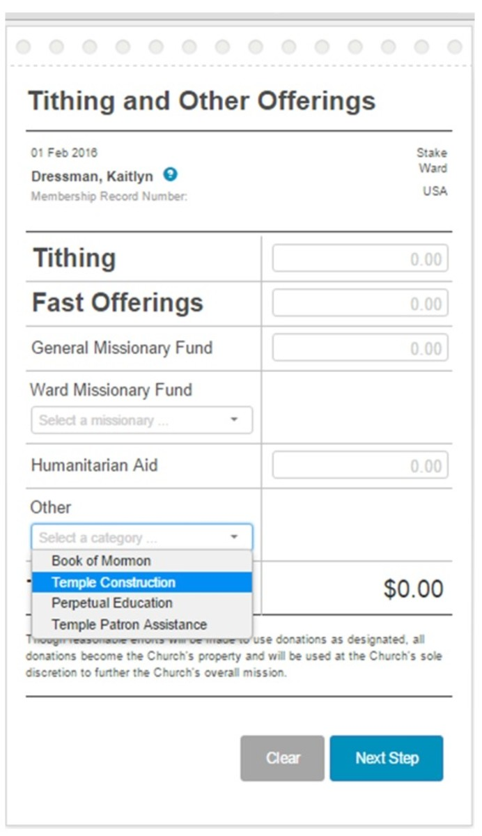 """Members can fill this online form out and pay via e-check as well.  (My personal membership record, ward & stake designations have been removed for privacy reasons.) Under the drop down menu is the word """"Total."""""""
