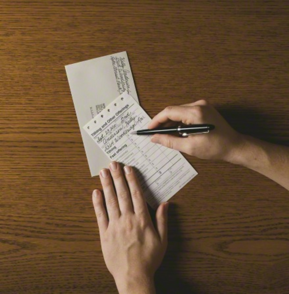 Members of the Church of Jesus Christ of Latter-day Saints can fill out this form by hand and enclose a personal check, money order or cash in the envelope to pay their tithing to their local leaders.