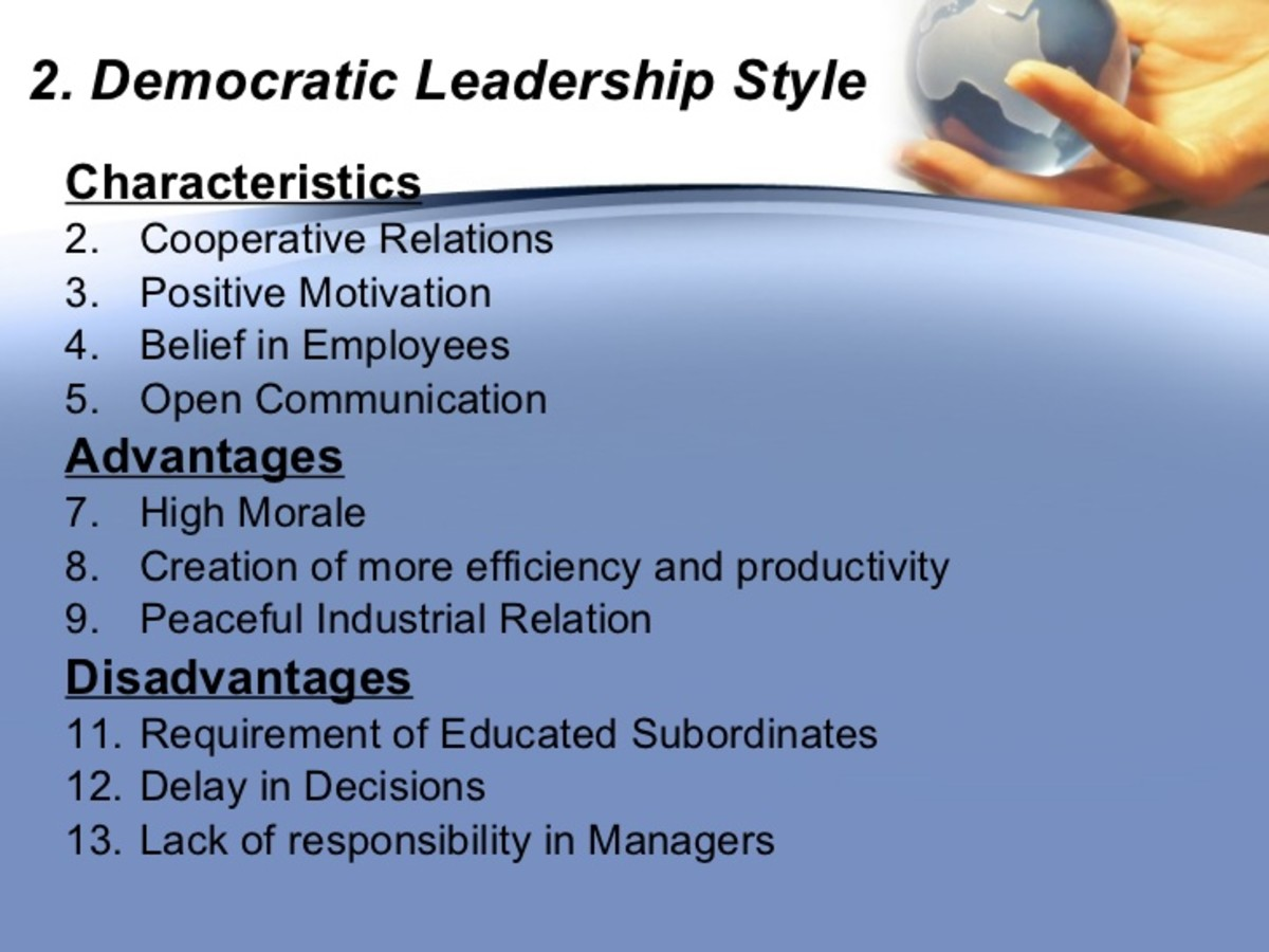 example of democratic leadership style How nursing leadership styles can impact patient this style is leadership by example this approach is the opposite of the democratic style as the leader.