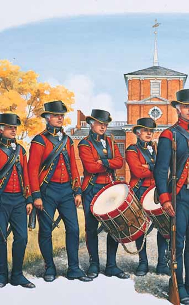 """The President's Own"" United States Marine Corp Band, ca. 1798. Watercolor by Lt. Col. Donna Neary, USMCR,"