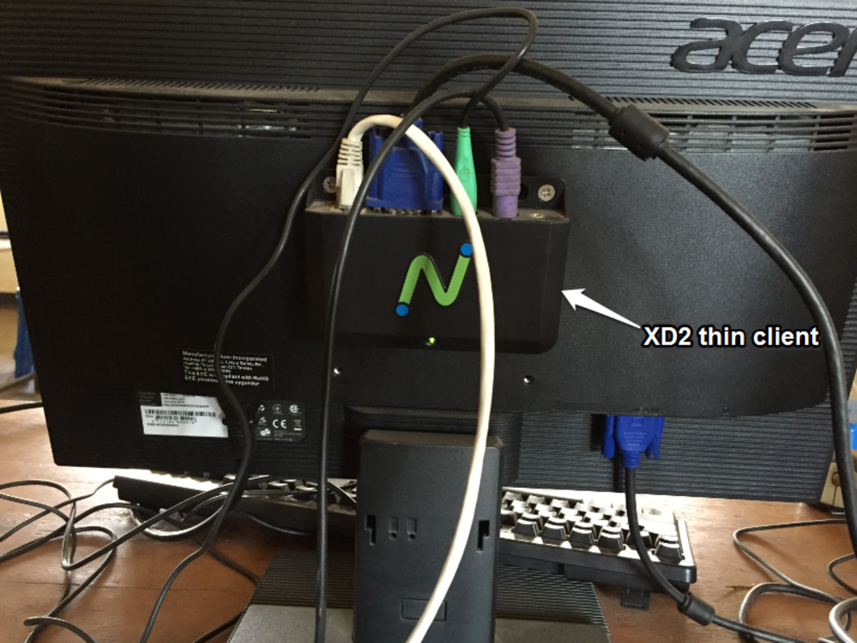 Ethernet cable,VGA cable, mouse and keyboard connectivity to the XD2 thin client device