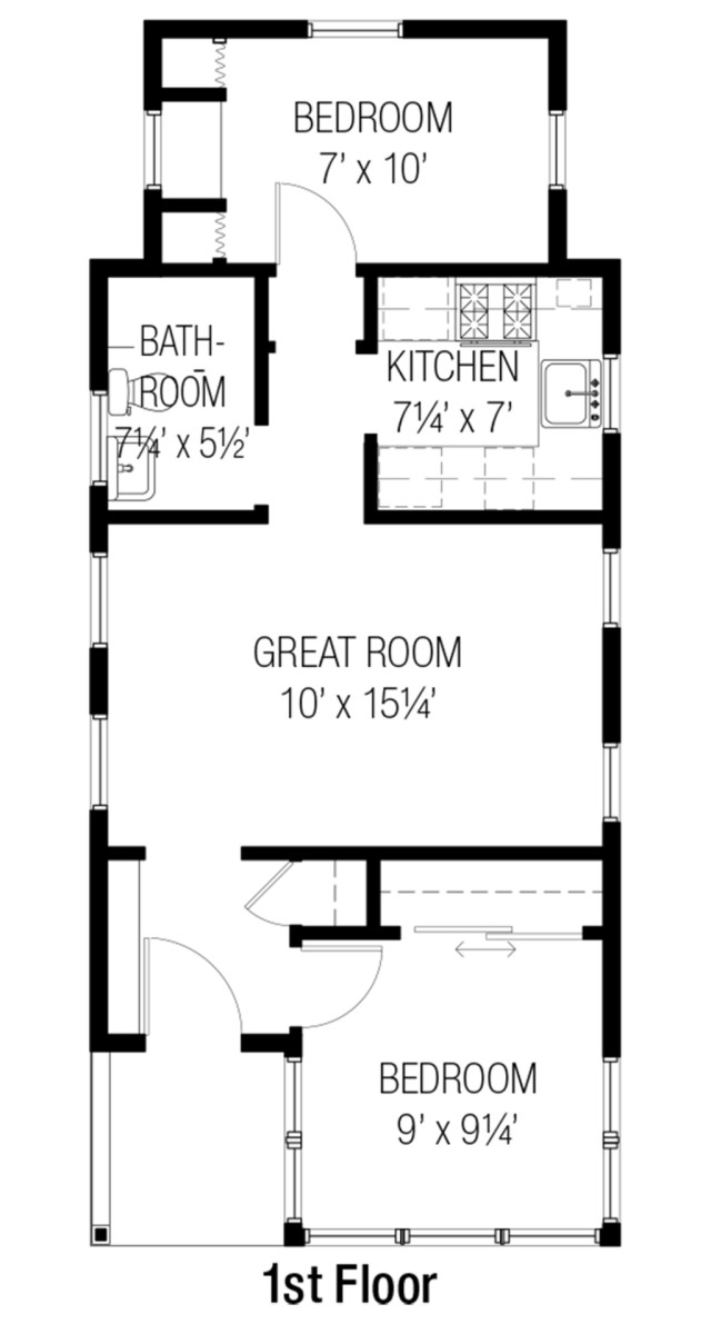 The floor plan also allows for a loft above the first floor