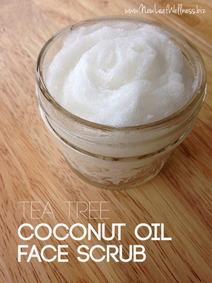 Homemade coconut oil facial scrub