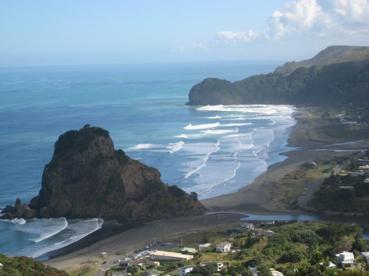 My first view on the Piha Beach