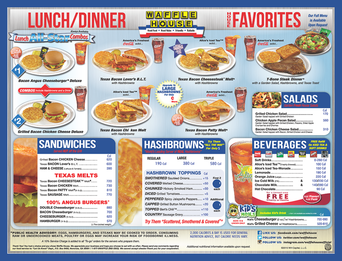 Waffle House Lunch and Dinner Menu