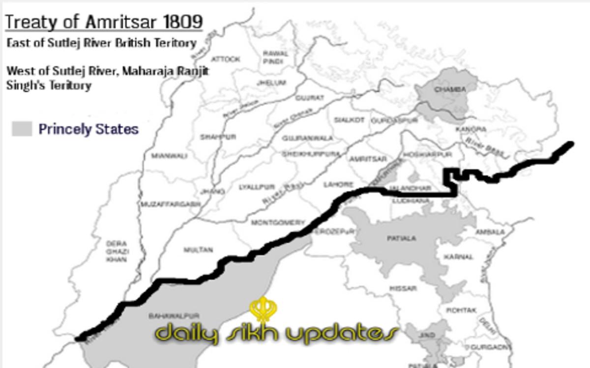 Southern boundary of Sikh empire as per Treaty of Amritsar