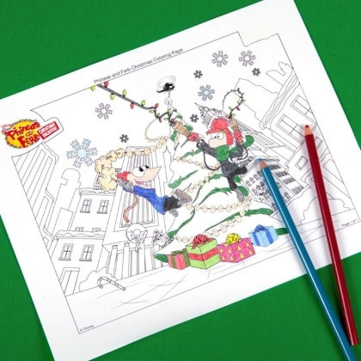 Disney has lots of coloring sheets with a Christmas theme like this Phineas and Ferb one.