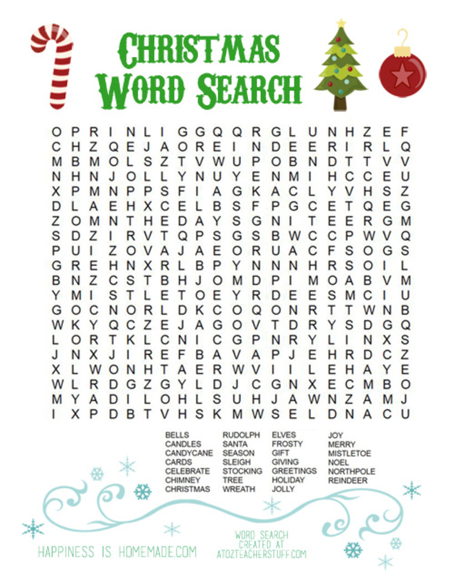 Happiness is Homemade has a printable Christmas word find puzzle for you.