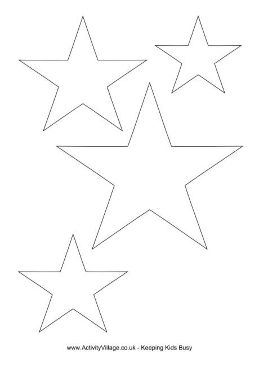Print out these easy to make star templates to decorate your Christmas tree and presents.