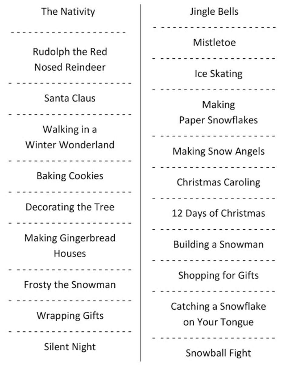 The Shabby Creek Cottage has a printable Christmas Charades game for you to print out.