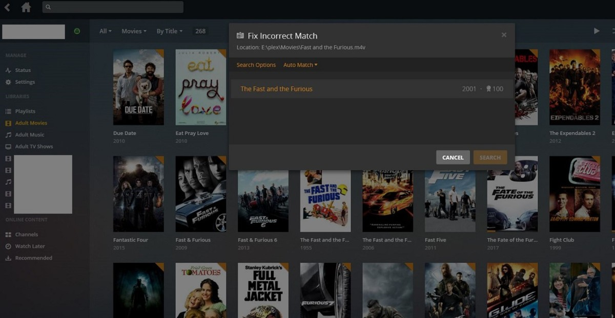 Select the search result that best matches your movie based on the title and date. The Fix Incorrect Match dialog box closes, and you're returned to the movie poster of your incorrect match.