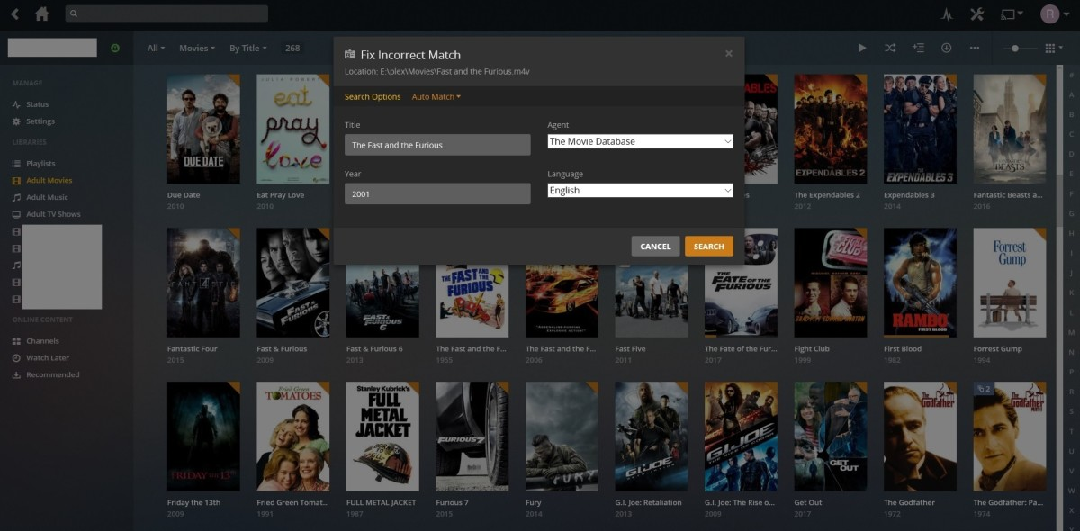 """Enter the title and date as accurately as possible. Also, enter a language. Finally, click the """"Agent"""" drop-down menu. You'll see options for Personal Media, Plex Movie, and The Movie Database. Select """"The Movie Database"""" and then click """"Search."""""""
