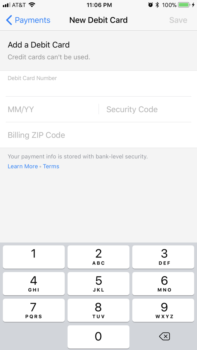 """Tap """"Add New Debit Card"""" in the Payment Methods section. The New Debit Card window appears. Enter your debit card number, the month and year associated with the expiration date, security code, and billing ZIP code."""