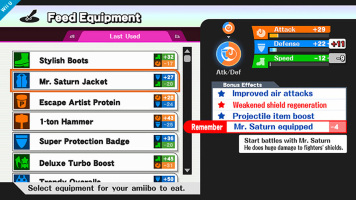 Equipment Screen