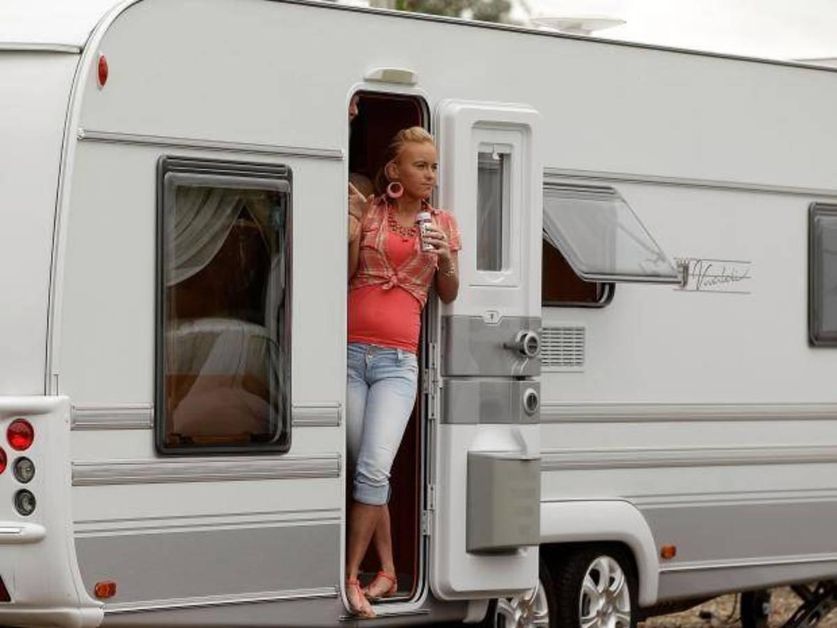 gypsy girl in modern caravan
