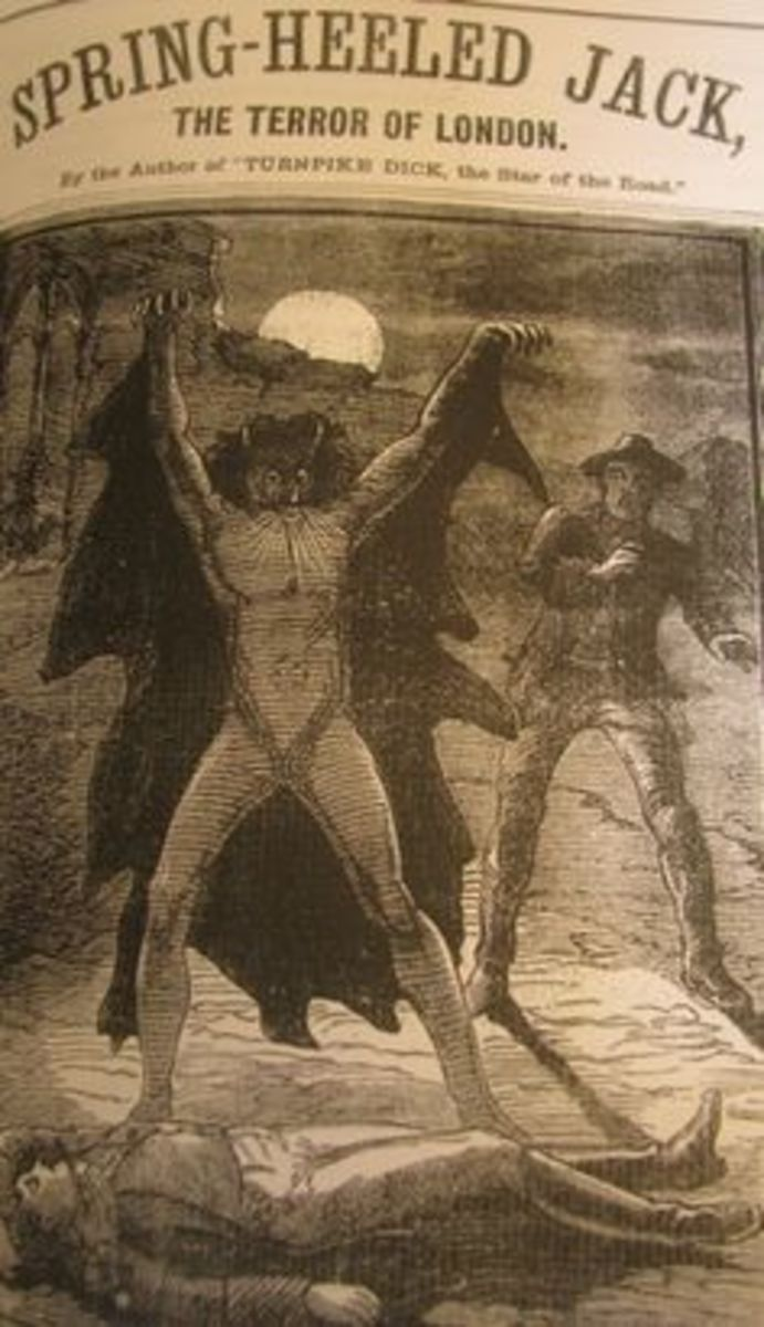 Depiction of Spring-Heeled Jack from a Penny Dreadful