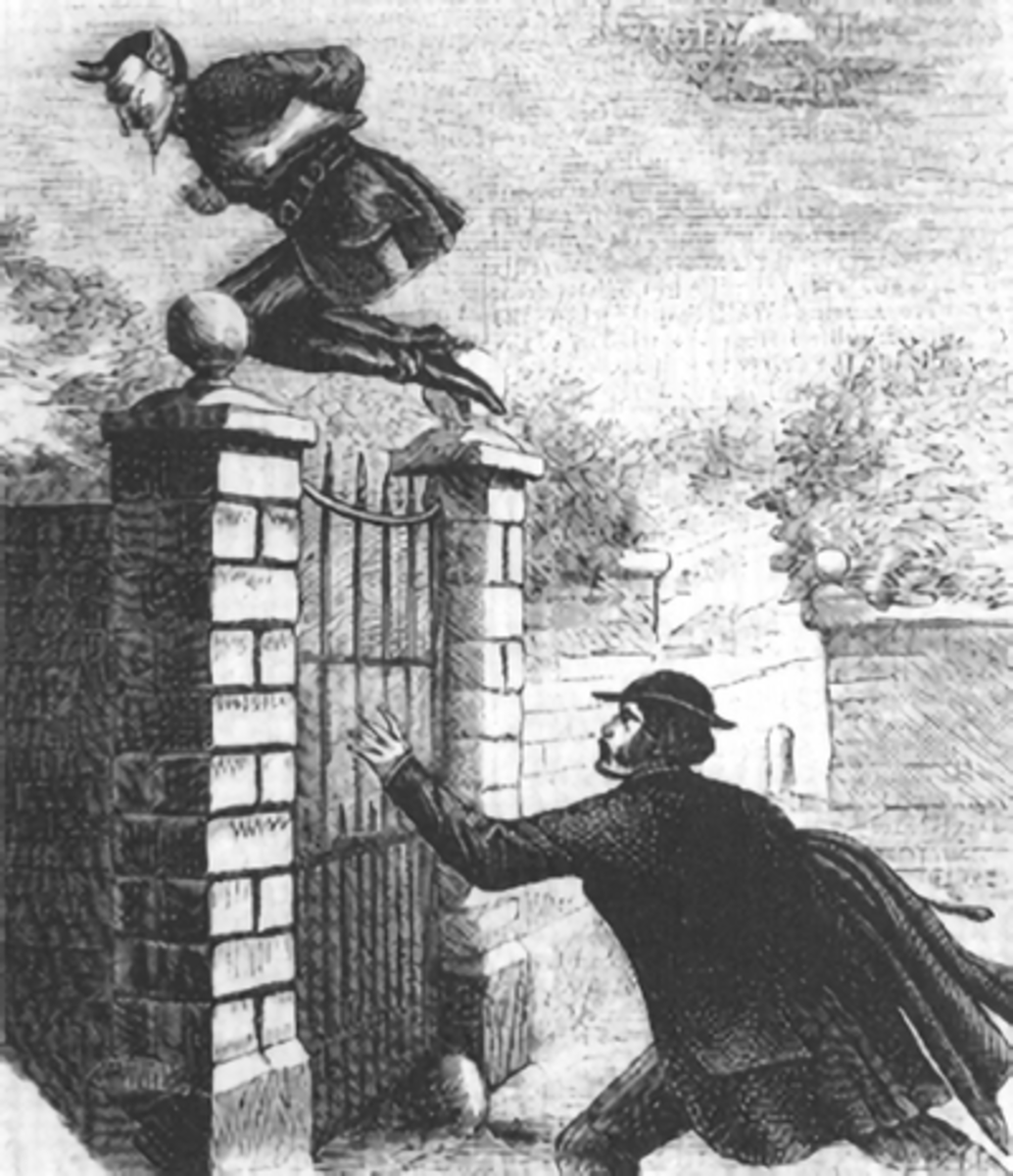 Illustration of Spring-Heeled Jack jumping a gate from a Victorian Penny Dreadful