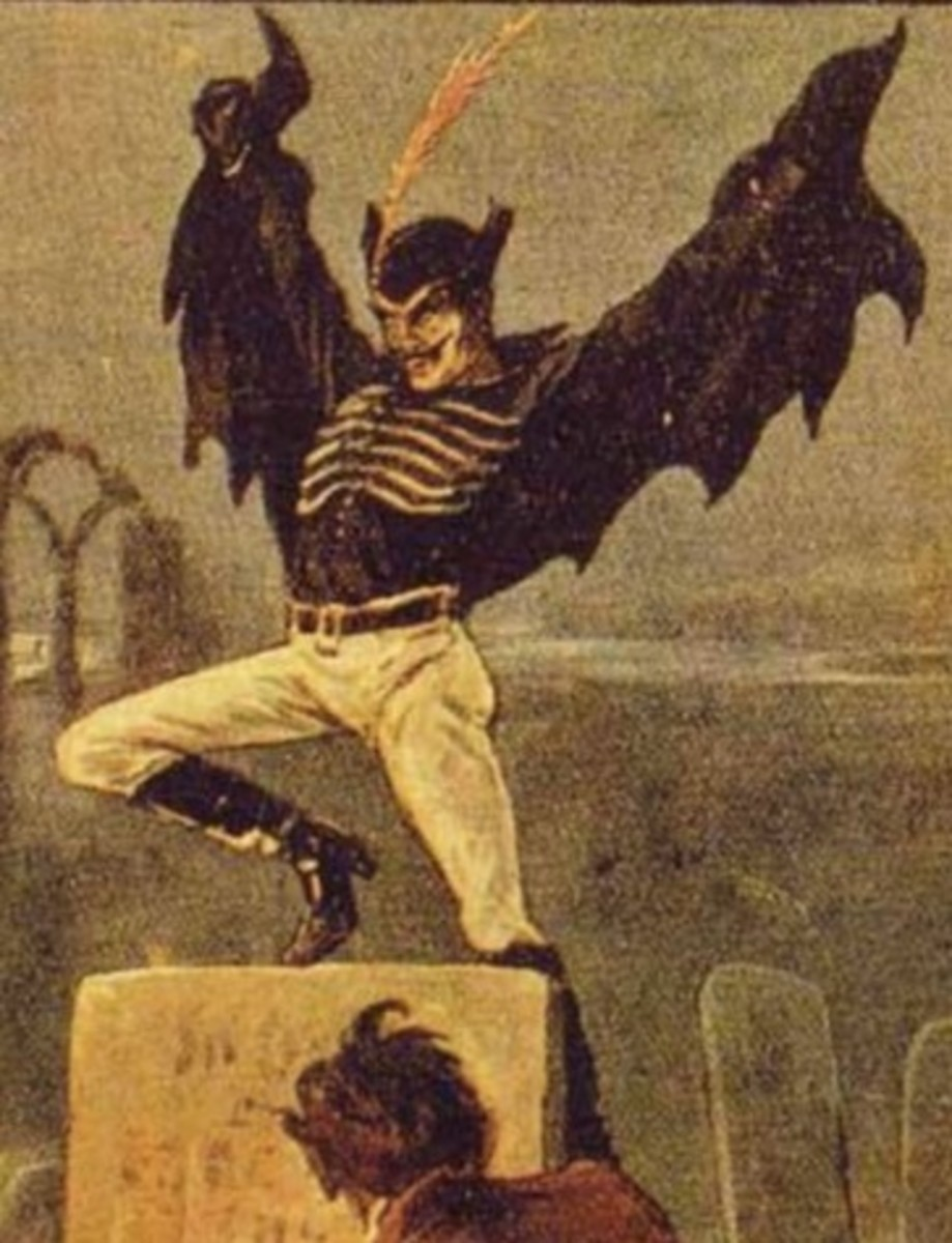 Depiction of Spring-Heeled Jack from a Victorian Penny Dreadful, circa 1860.