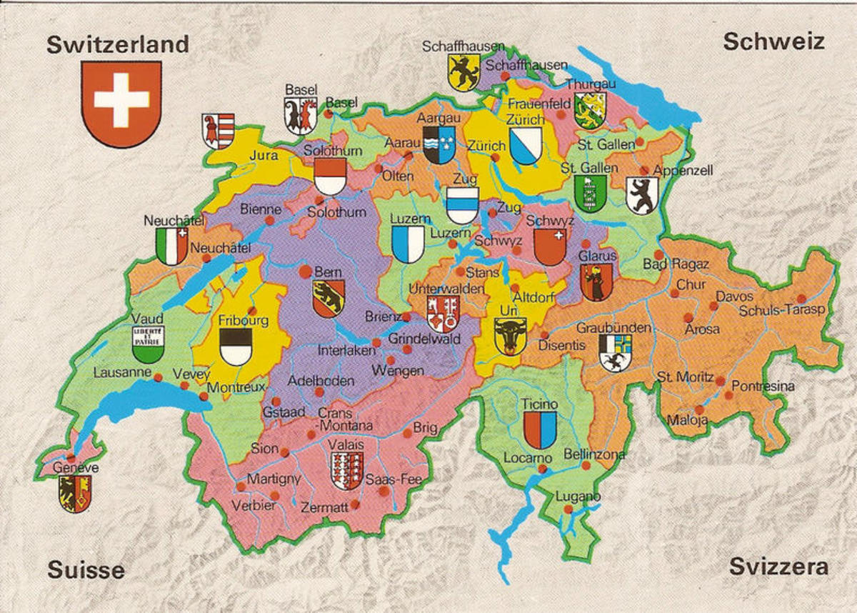 Switzerland and its Cantons (for reference of where the meals are from) - featuring Switzerland's National languages, where the north speaks multiple dialects of Swiss German, the east  French, the west Romansh, and the south Italian.