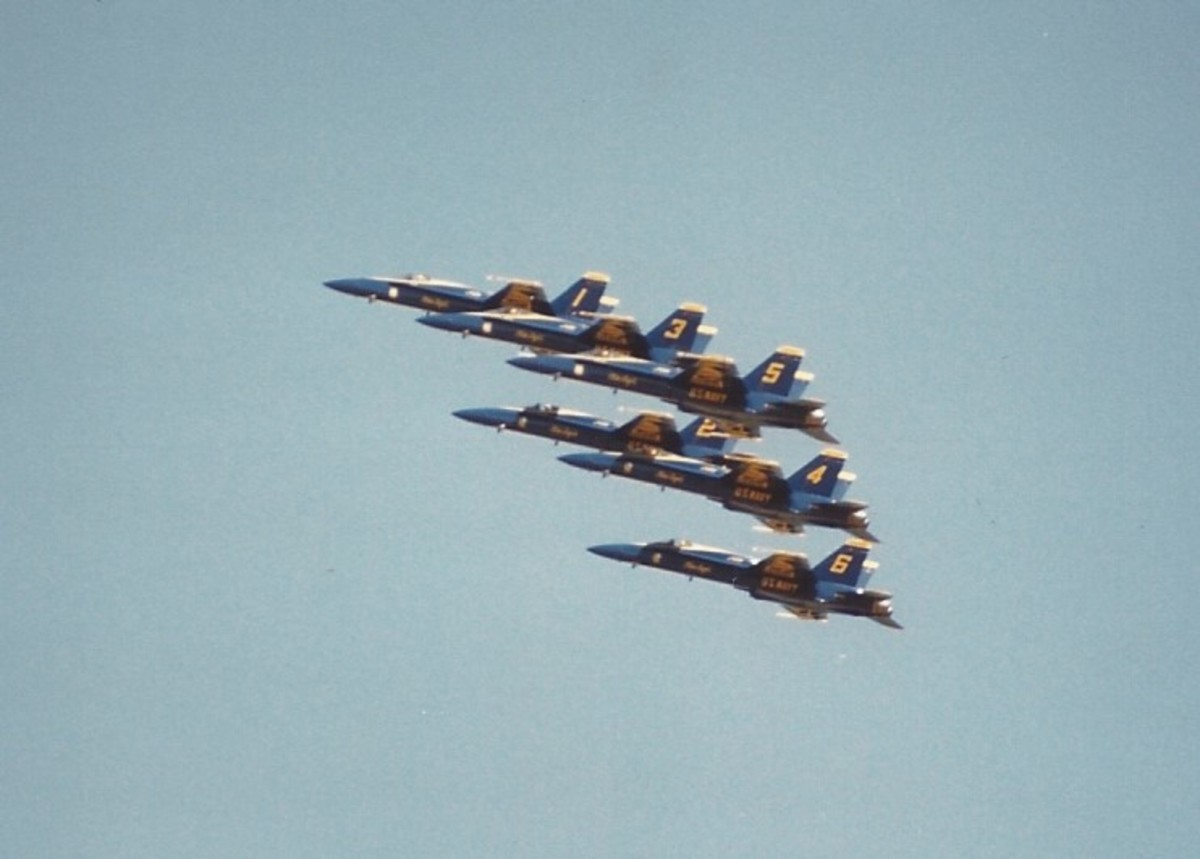 F/A-18s of the US Navy demonstration team, The Blue Angles.  Pax River, MD,  May 16, 1987