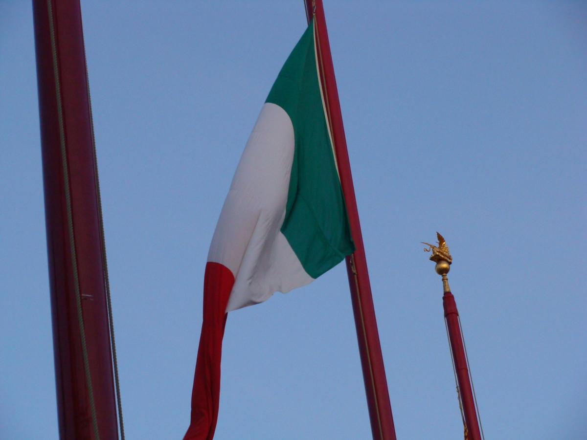 The flag of Italy.