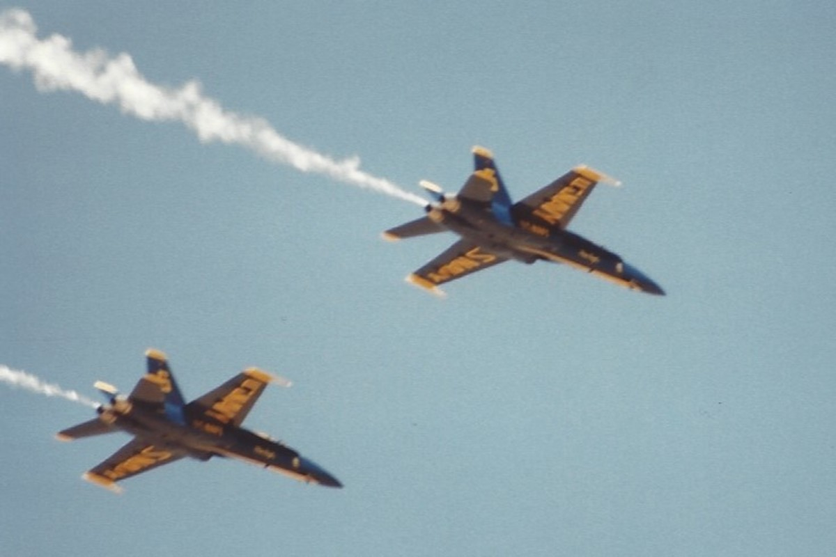 Two Blue Angles F/A-18s in flight.