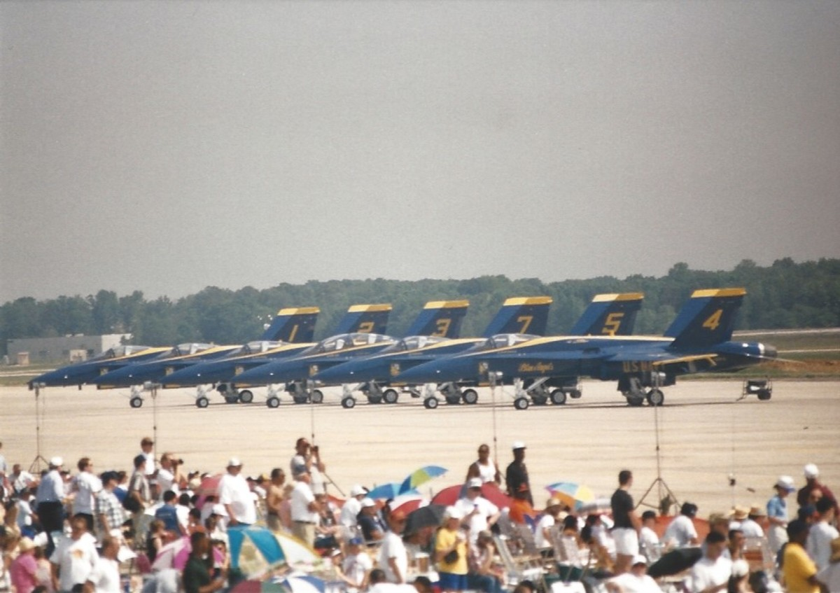 A line up of US Navy, Blue Angles, F/A-18s.
