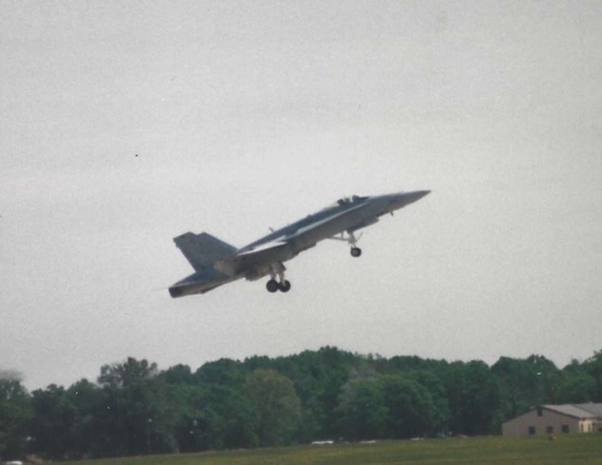An F/A-18 taking off at Andrews AFB, May 1999.