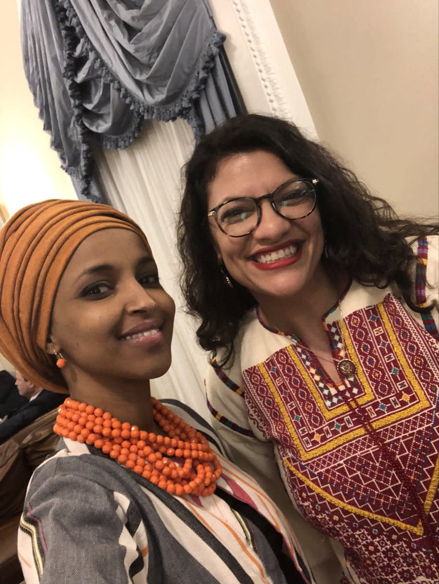 "Omar Tweeted this photo with the caption, ""This is what America looks like.""  Correction, this is what two cultural jihadists look like!"