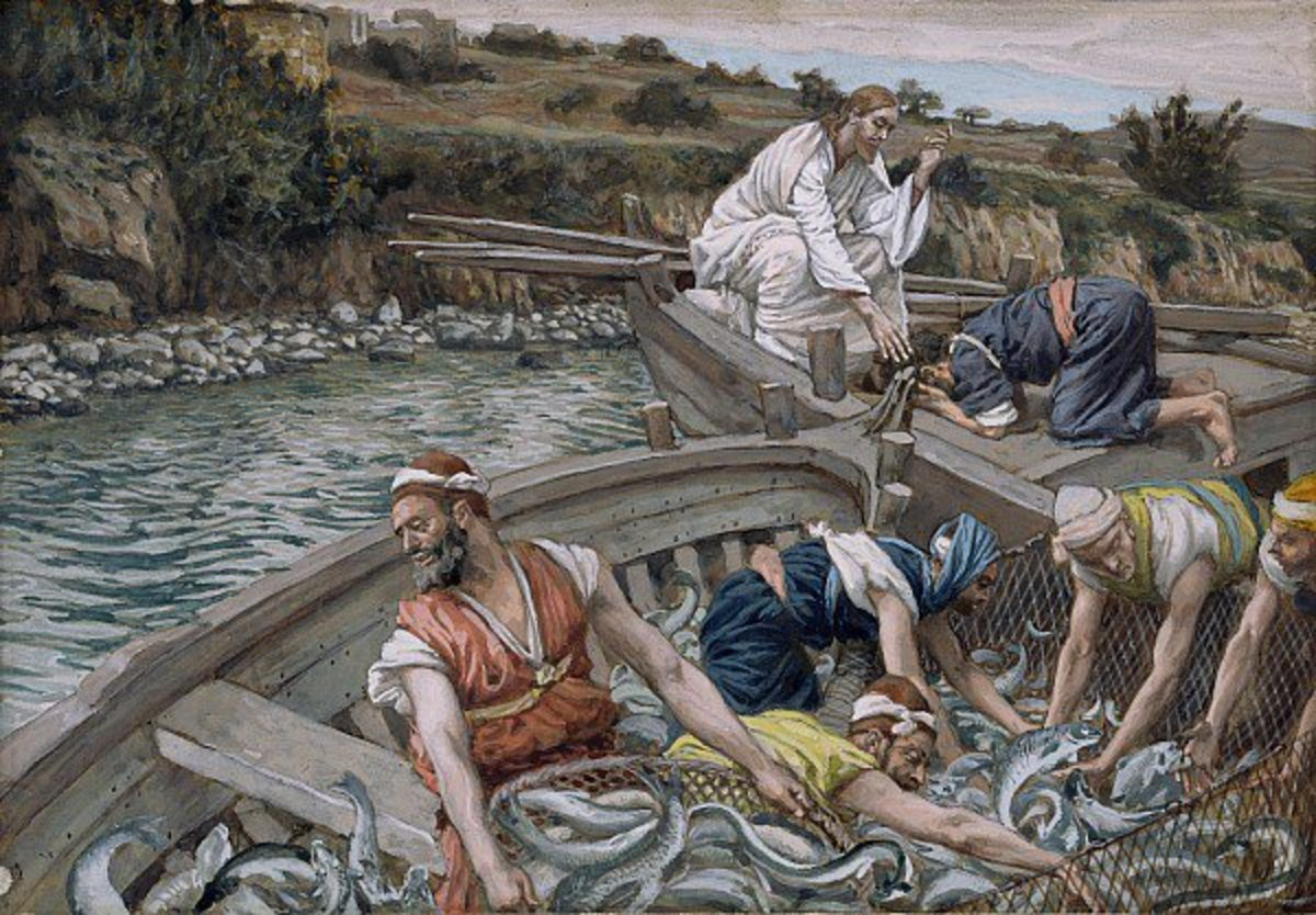 Peter followed Jesus' instruction and caught 153 fish during the day.