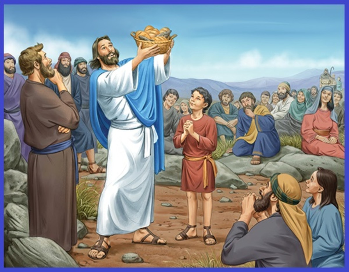 Jesus feeds the multitude with a little boy's meager lunch