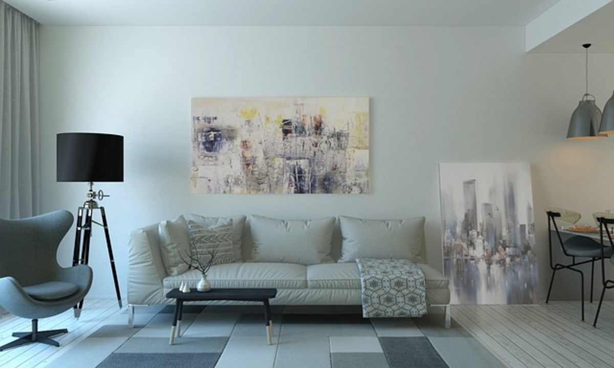 A soft neutral gray makes it easy to bring in artwork with a pop of color.