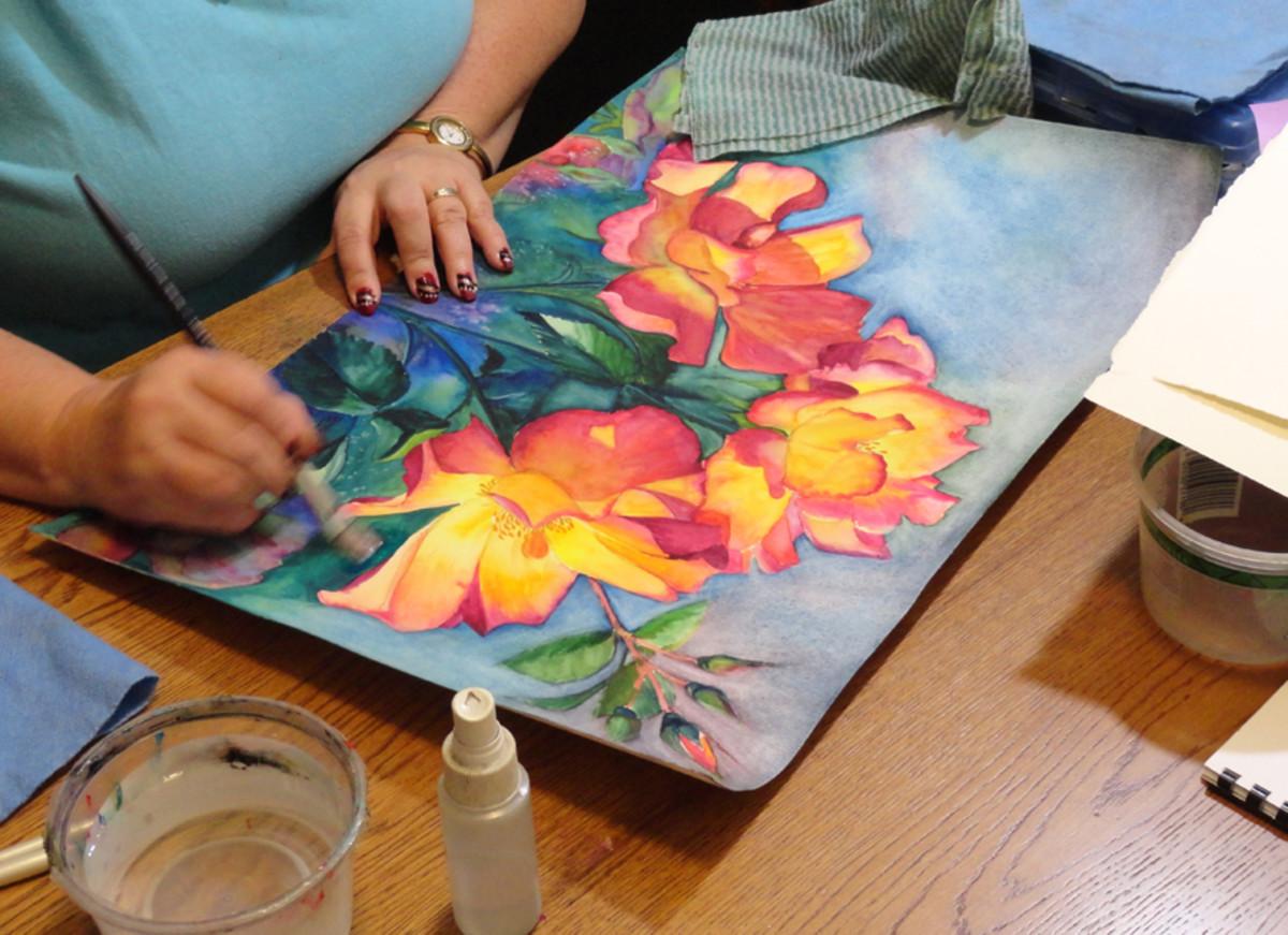 Watercolor Tea Roses