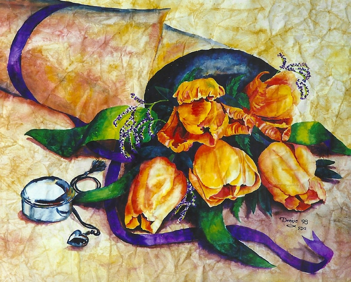The Tulip Wrap, watercolor on wrinkled paper