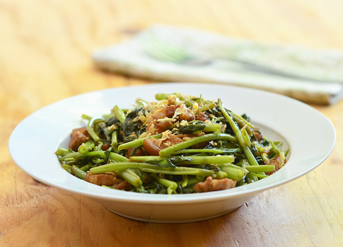 Water Spinach Adobo for those who love their greens