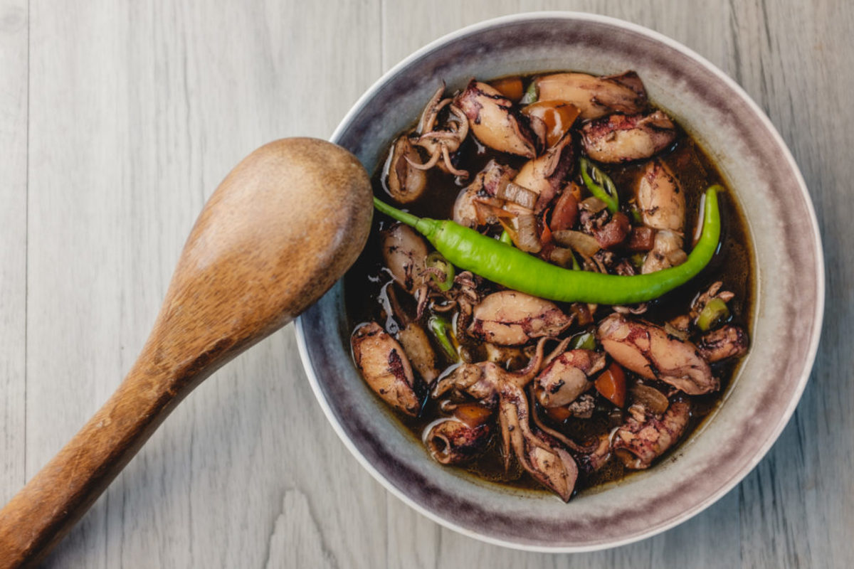 Squid Adobo with a tangy long green chilli