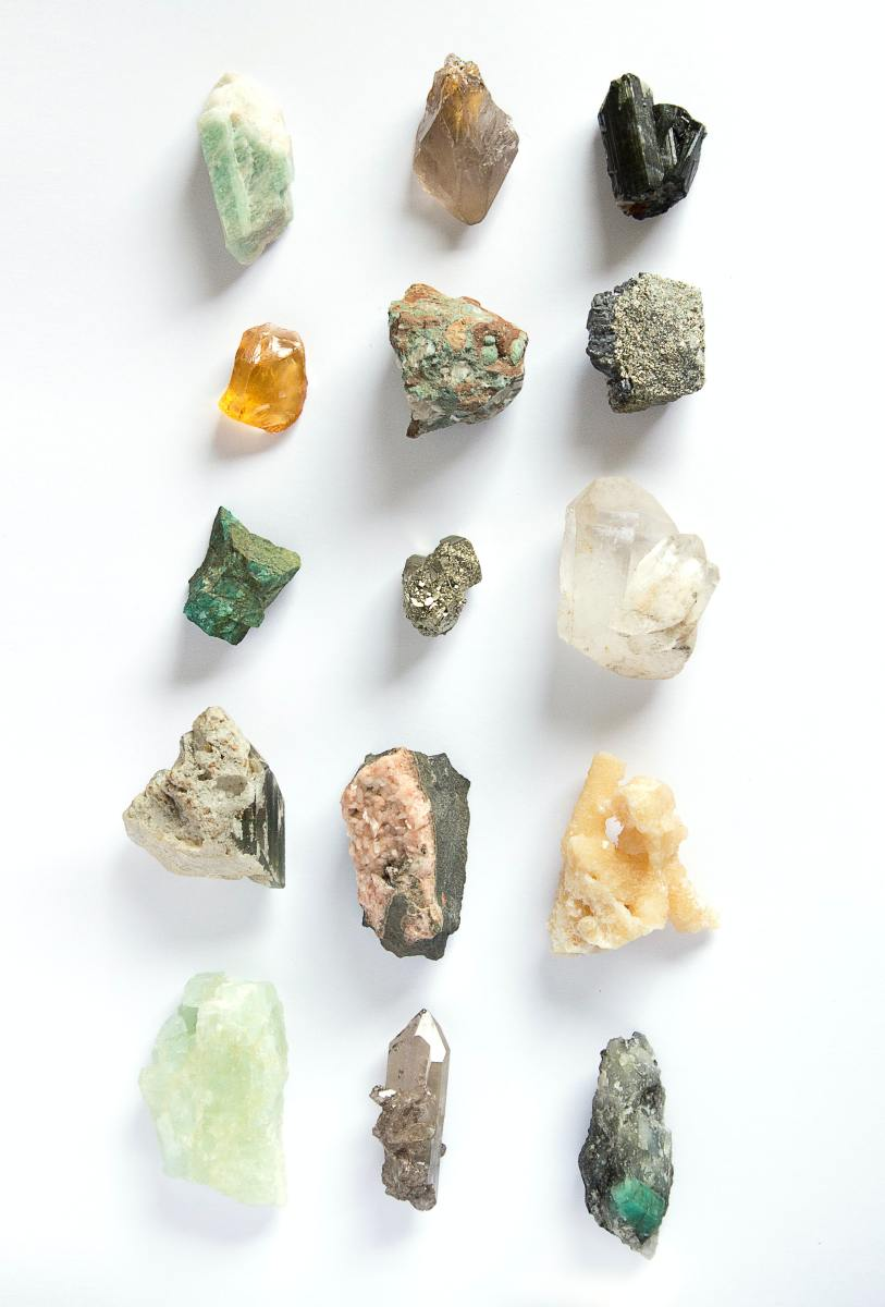 Assorted color stones in a simple display.