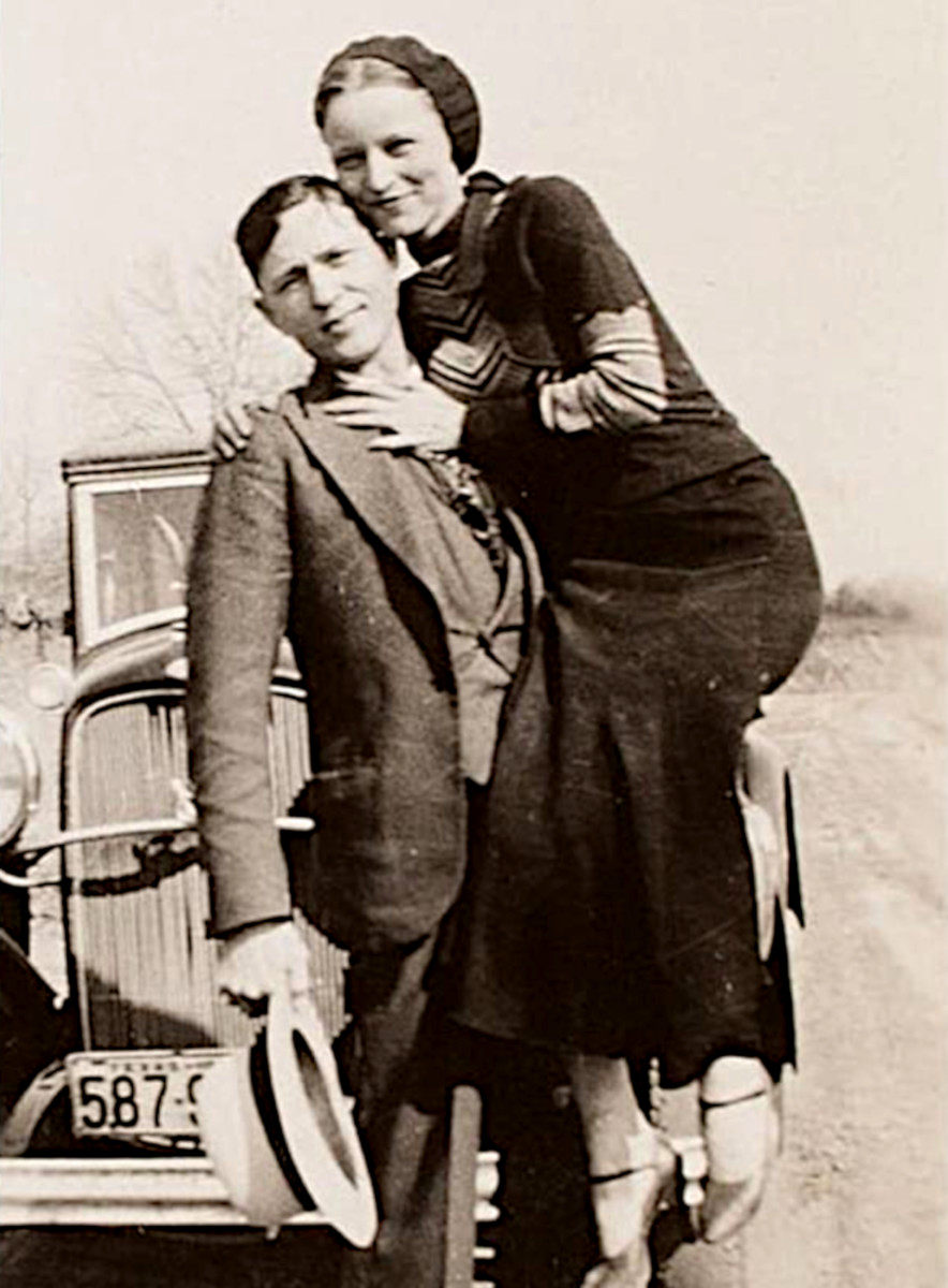 Bonnie and Clyde, Depression era heroes who robbed banks and gas stations and eluded the law until the law murdered them.