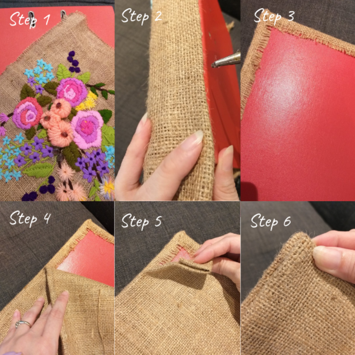 Cover the file folder with the finished embroidered fabric