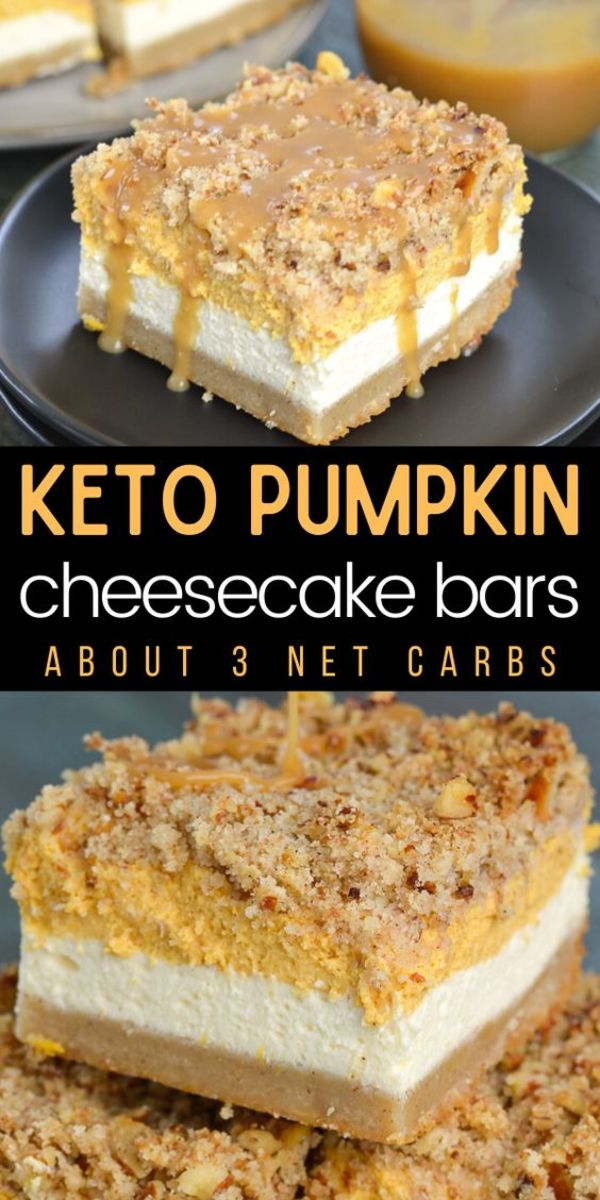 Keto Pumpkin Cheesecake bars by thebestketorecipes.com