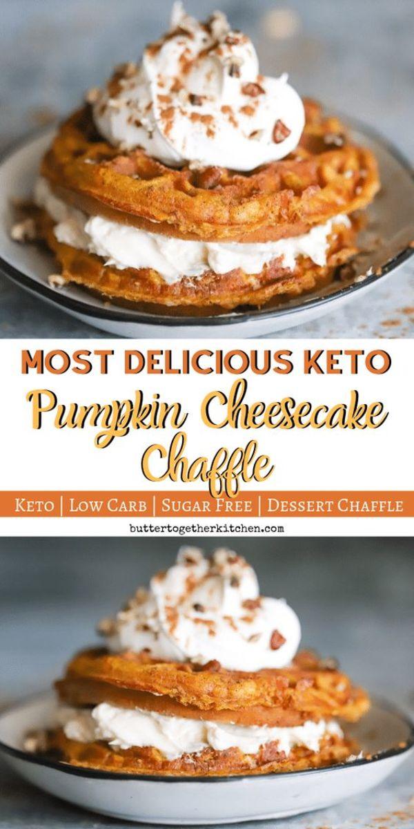 Keto Pumpkin Cheesecake Chaffle by buttertogetherkitchen.com