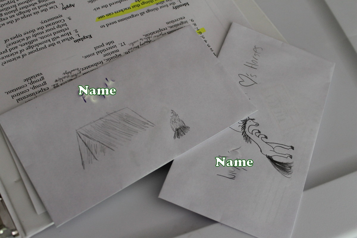 Student envelopes for holding their tickets