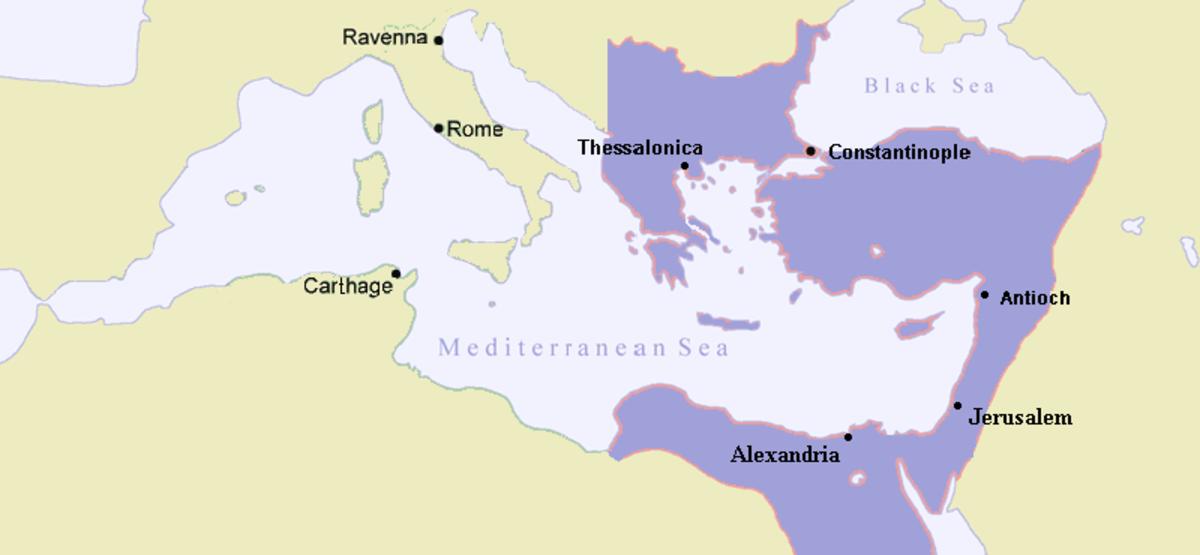 CHRISTIAN BYZANTIUM MAP 600 AD